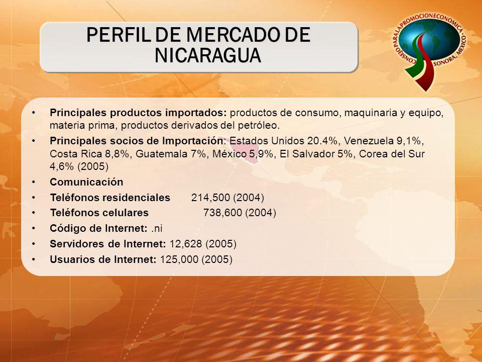 Principales productos importados: productos de consumo, maquinaria y equipo, materia prima, productos derivados del petróleo.