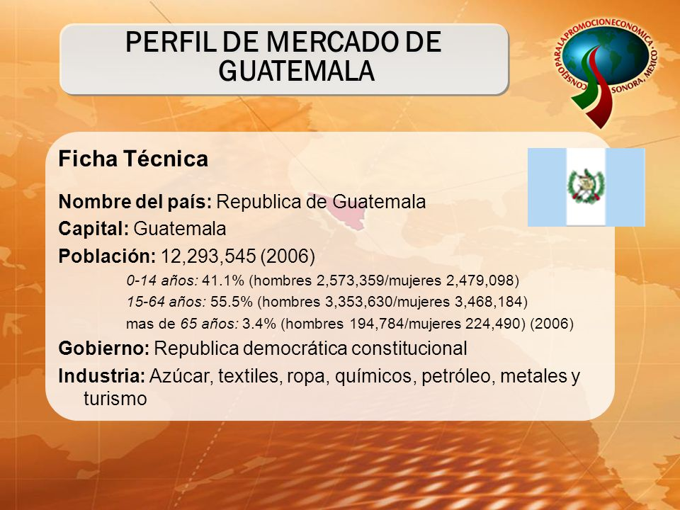 Ficha Técnica Nombre del país: Republica de Guatemala Capital: Guatemala Población: 12,293,545 (2006) 0-14 años: 41.1% (hombres 2,573,359/mujeres 2,479,098) 15-64 años: 55.5% (hombres 3,353,630/mujeres 3,468,184) mas de 65 años: 3.4% (hombres 194,784/mujeres 224,490) (2006) Gobierno: Republica democrática constitucional Industria: Azúcar, textiles, ropa, químicos, petróleo, metales y turismo PERFIL DE MERCADO DE GUATEMALA