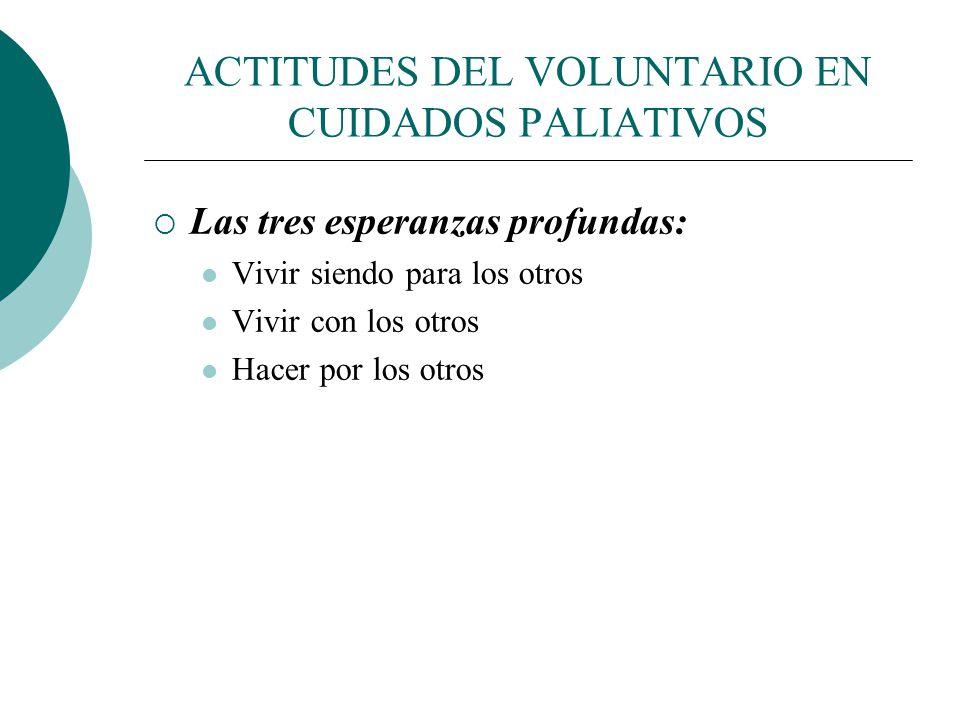 ACTITUDES DEL VOLUNTARIO EN CUIDADOS PALIATIVOS La esperanza y la trascendencia: actitudes claves del voluntariado. Distinguir entre ilusiones y esper