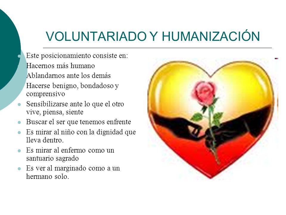 VOLUNTARIADO Y HUMANIZACIÓN Indicadores de humanización: Consideración de la persona de manera única Participación activa Respeto a la libertad del ot
