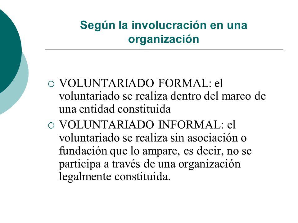 Según la forma de entender la finalidad del voluntariado Voluntariado asistencialista: Alivia las consecuencias de una exclusión No busca formas de ca