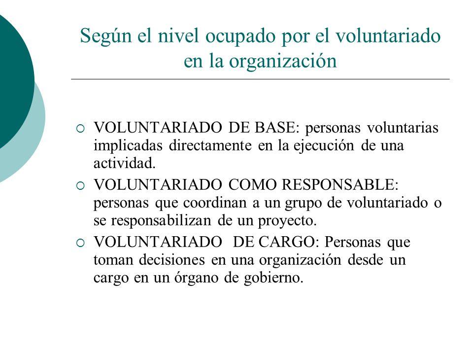 Según la involucración en una organización VOLUNTARIADO FORMAL: el voluntariado se realiza dentro del marco de una entidad constituida VOLUNTARIADO IN