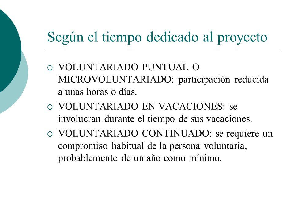 Según el nivel de presencia o ausencia VOLUNTARIADO PRESENCIAL: el voluntariado se realiza en un centro o en un espacio físico de la entidad, en conta