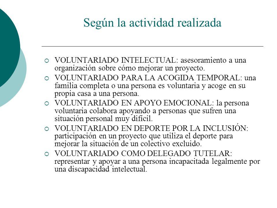 Según la actividad realizada VOLUNTARIADO PEDAGÓGICO: se involucra en un proyecto de enseñanza. CIBERVOLUNTARIADO: participación en un proyecto de ens