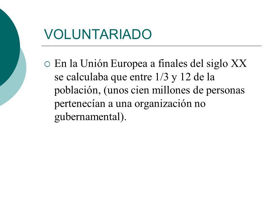 VOLUNTARIADO La ley de voluntariado de 15 de enero de 1996 dice: el conjunto de actividades de interés general, desarrolladas por personas físicas, si