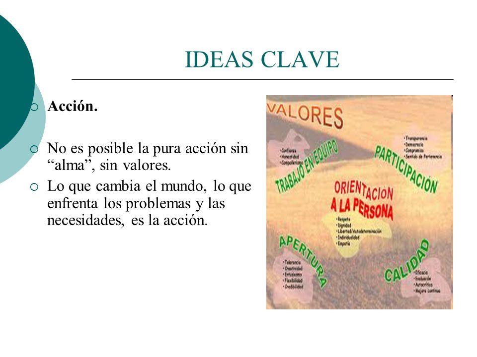 IDEAS CLAVE Acción. El voluntariado no es sólo un valor ético, una actitud, sino una práctica concreta. El voluntariado se hace, es acción. Si se qued