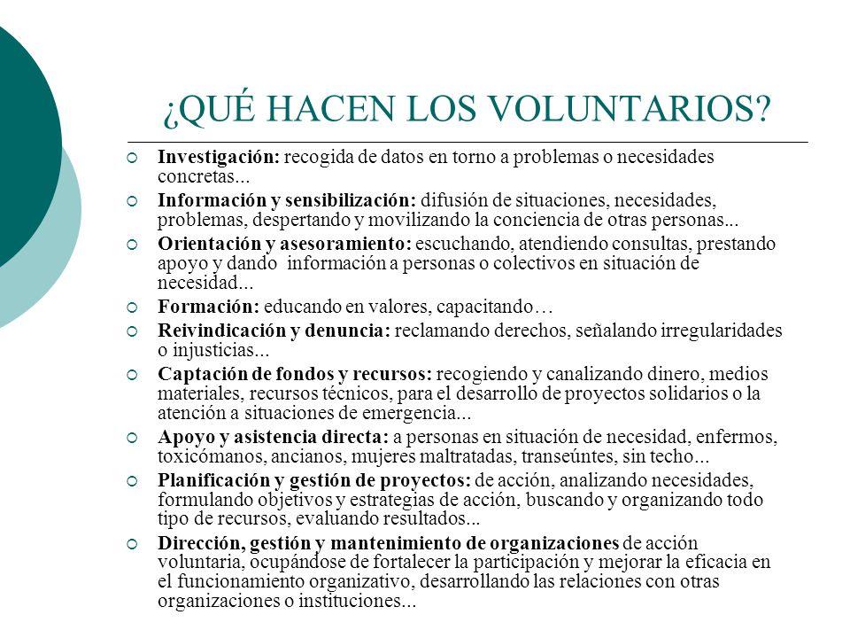 PASOS PARA SER VOLUNTARIO Social. Cultural. Educativo. Medioambiente. Salud. Participación Ciudadana y Civismo. Promoción de Colectivos. Derechos Huma