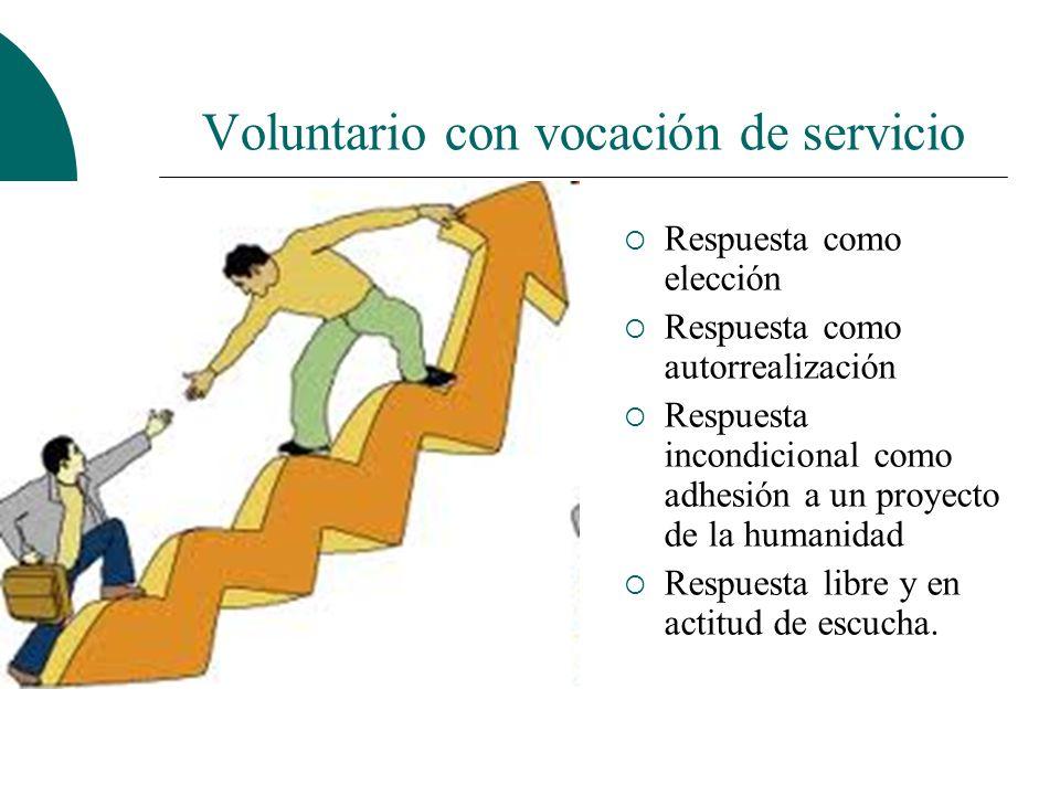 Voluntario con vocación de servicio Formas de responder: La vocación invitación para algo se hace llamada implica elección solicita una respuesta.
