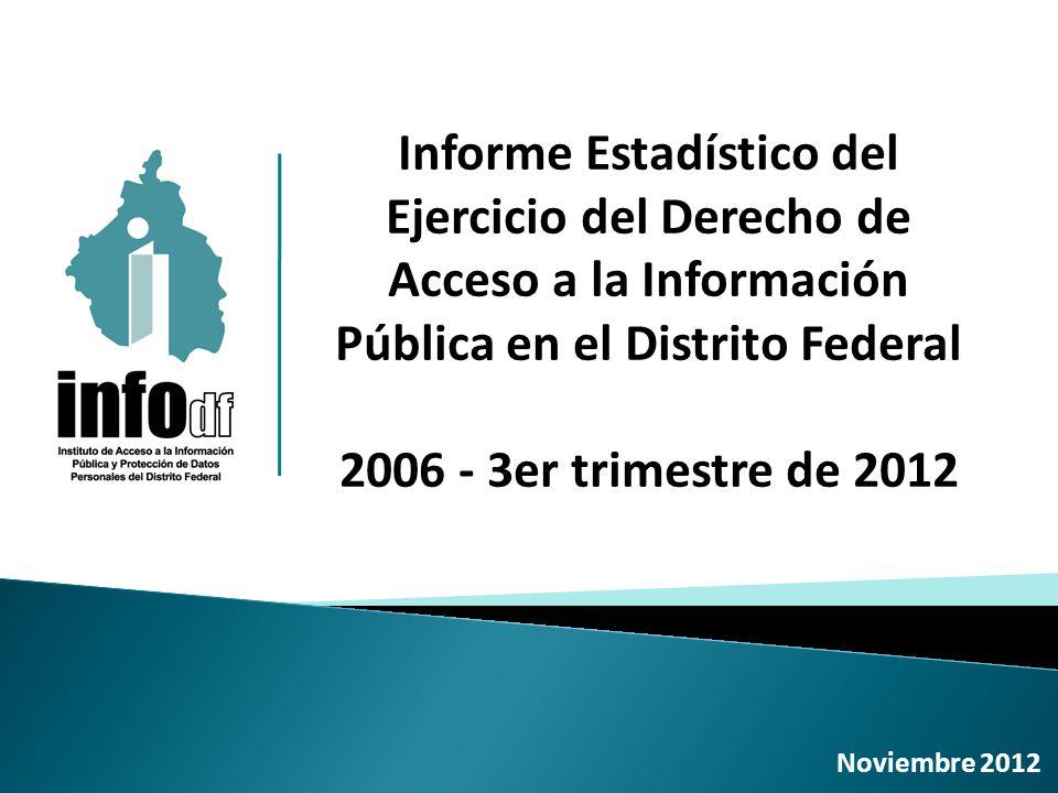 Informe Estadístico del Ejercicio del Derecho de Acceso a la Información Pública en el Distrito Federal 2006 - 3er trimestre de 2012 Noviembre 2012