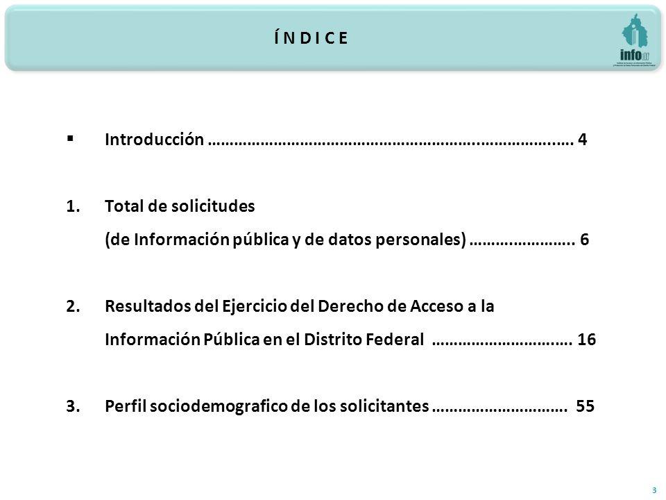 Í N D I C E 3 Introducción ……………………………………………………..……………..…. 4 1.Total de solicitudes (de Información pública y de datos personales) ……….………….. 6 2.Resu