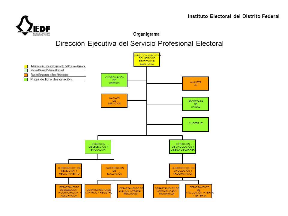 Instituto Electoral del Distrito Federal Organigrama Dirección Ejecutiva del Servicio Profesional Electoral DIRECCIÓN EJECUTIVA DEL SERVICIO PROFESION