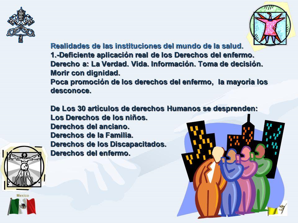 Realidades de las instituciones del mundo de la salud.