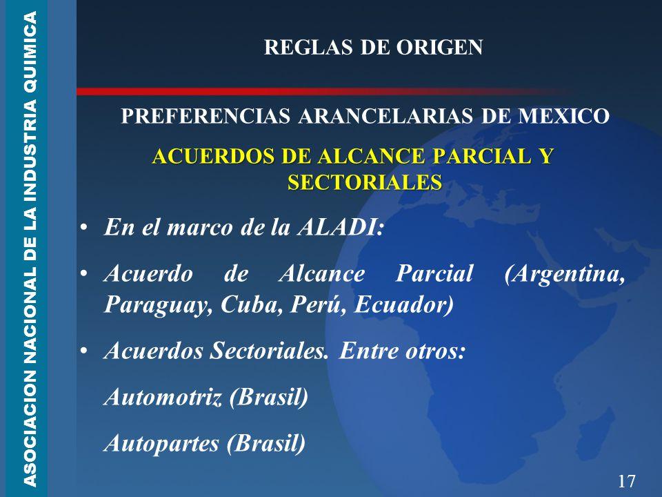 17 REGLAS DE ORIGEN PREFERENCIAS ARANCELARIAS DE MEXICO ACUERDOS DE ALCANCE PARCIAL Y SECTORIALES En el marco de la ALADI: Acuerdo de Alcance Parcial (Argentina, Paraguay, Cuba, Perú, Ecuador) Acuerdos Sectoriales.