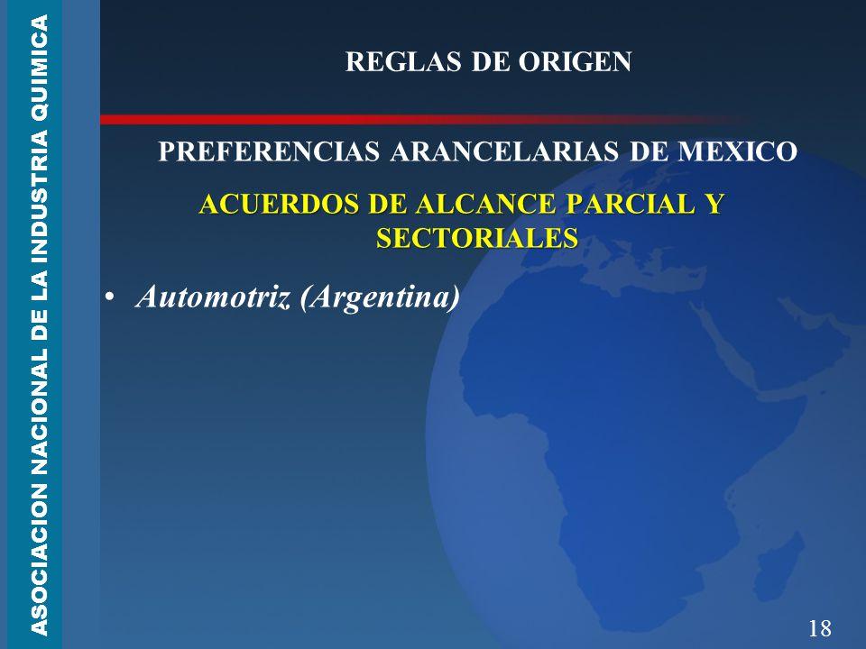 18 REGLAS DE ORIGEN PREFERENCIAS ARANCELARIAS DE MEXICO ACUERDOS DE ALCANCE PARCIAL Y SECTORIALES Automotriz (Argentina) ASOCIACION NACIONAL DE LA INDUSTRIA QUIMICA
