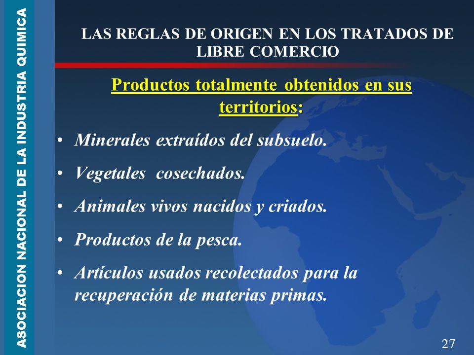 27 LAS REGLAS DE ORIGEN EN LOS TRATADOS DE LIBRE COMERCIO Productos totalmente obtenidos en sus territorios: Minerales extraídos del subsuelo.