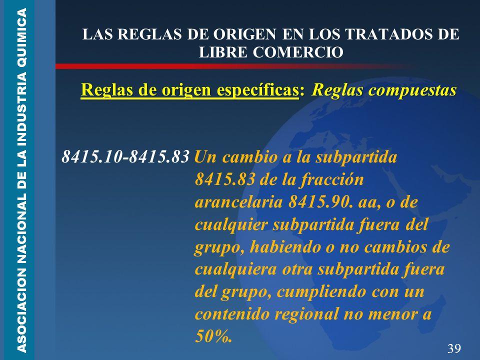 39 LAS REGLAS DE ORIGEN EN LOS TRATADOS DE LIBRE COMERCIO Reglas de origen específicas: Reglas compuestas 8415.10-8415.83 Un cambio a la subpartida 8415.83 de la fracción arancelaria 8415.90.