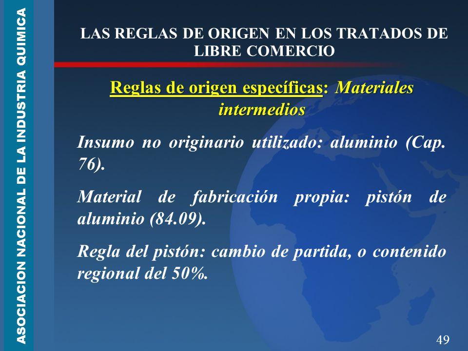 49 LAS REGLAS DE ORIGEN EN LOS TRATADOS DE LIBRE COMERCIO Reglas de origen específicas: Materiales intermedios Insumo no originario utilizado: aluminio (Cap.