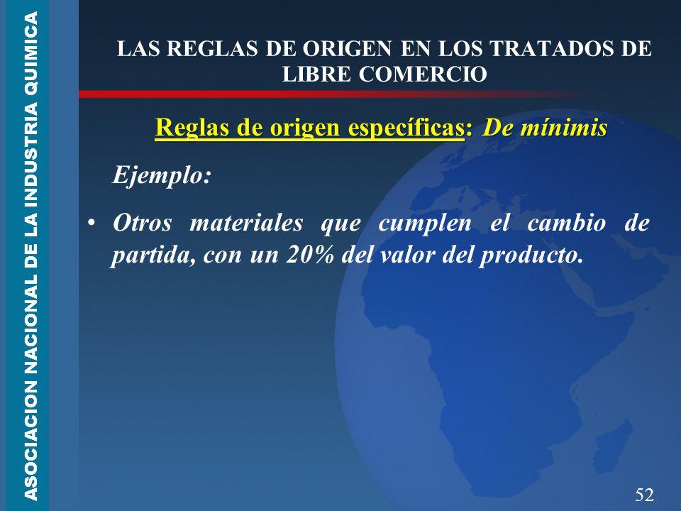 52 LAS REGLAS DE ORIGEN EN LOS TRATADOS DE LIBRE COMERCIO Reglas de origen específicas: De mínimis Ejemplo: Otros materiales que cumplen el cambio de partida, con un 20% del valor del producto.