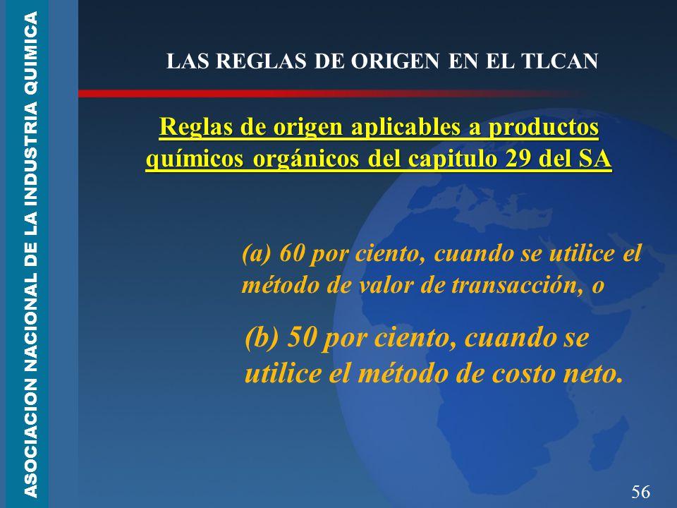 56 LAS REGLAS DE ORIGEN EN EL TLCAN Reglas de origen aplicables a productos químicos orgánicos del capitulo 29 del SA (a) 60 por ciento, cuando se utilice el método de valor de transacción, o (b) 50 por ciento, cuando se utilice el método de costo neto.