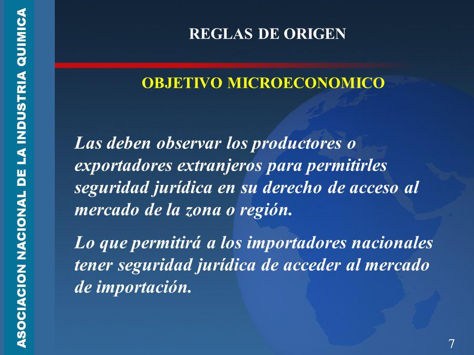 7 REGLAS DE ORIGEN OBJETIVO MICROECONOMICO Las deben observar los productores o exportadores extranjeros para permitirles seguridad jurídica en su derecho de acceso al mercado de la zona o región.