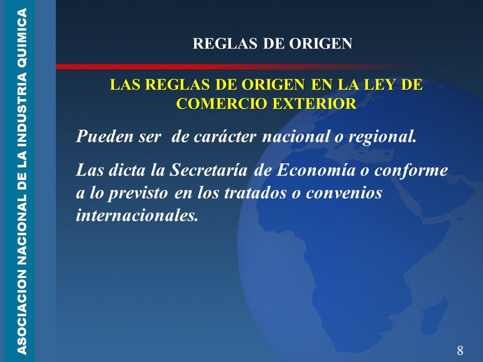 8 REGLAS DE ORIGEN LAS REGLAS DE ORIGEN EN LA LEY DE COMERCIO EXTERIOR Pueden ser de carácter nacional o regional.