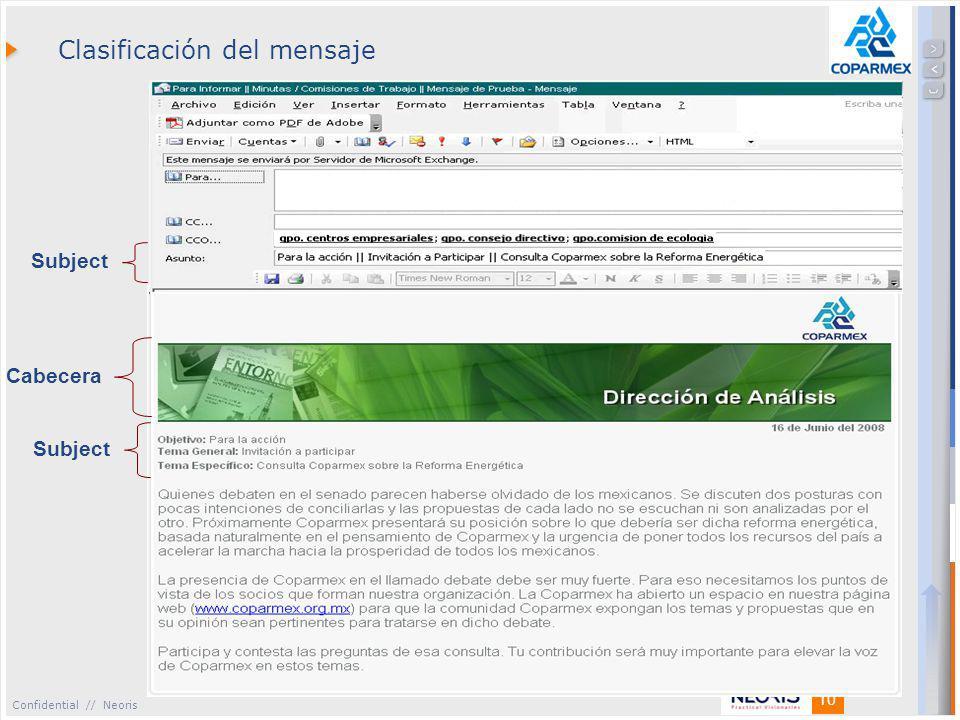 Confidential // Neoris 10 Clasificación del mensaje Cabecera Subject