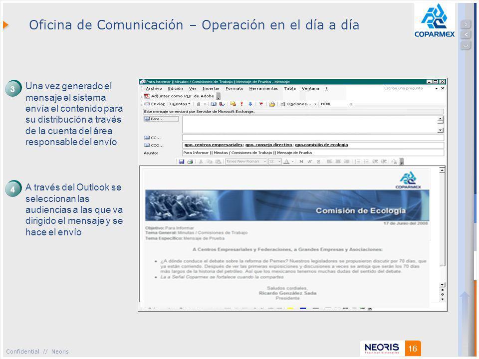 Confidential // Neoris 16 Oficina de Comunicación – Operación en el día a día Una vez generado el mensaje el sistema envía el contenido para su distribución a través de la cuenta del área responsable del envío A través del Outlook se seleccionan las audiencias a las que va dirigido el mensaje y se hace el envío 3 4