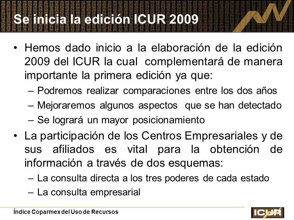 Se inicia la edición ICUR 2009 Hemos dado inicio a la elaboración de la edición 2009 del ICUR la cual complementará de manera importante la primera edición ya que: –Podremos realizar comparaciones entre los dos años –Mejoraremos algunos aspectos que se han detectado –Se logrará un mayor posicionamiento La participación de los Centros Empresariales y de sus afiliados es vital para la obtención de información a través de dos esquemas: –La consulta directa a los tres poderes de cada estado –La consulta empresarial Índice Coparmex del Uso de Recursos