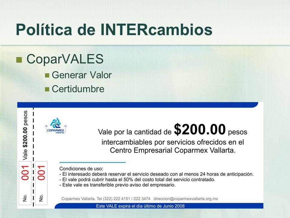 Política de INTERcambios CoparVALES Generar Valor Certidumbre