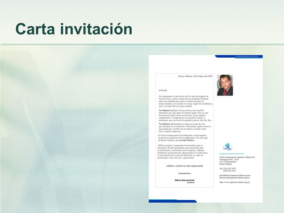 Carta invitación
