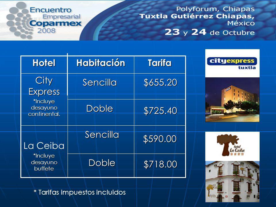 Tarifa La Ceiba *Incluye desayuno buffete City Express *Incluye desayuno continental. HabitaciónHotel Doble Sencilla Doble Sencilla $725.40 $655.20 *