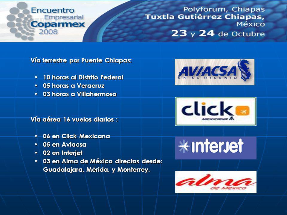 Vía terrestre por Puente Chiapas: 10 horas al Distrito Federal 10 horas al Distrito Federal 05 horas a Veracruz 05 horas a Veracruz 03 horas a Villahe