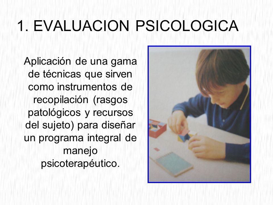 1. EVALUACION PSICOLOGICA Aplicación de una gama de técnicas que sirven como instrumentos de recopilación (rasgos patológicos y recursos del sujeto) p