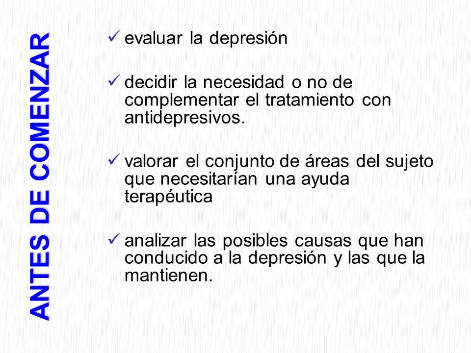 evaluar la depresión decidir la necesidad o no de complementar el tratamiento con antidepresivos.