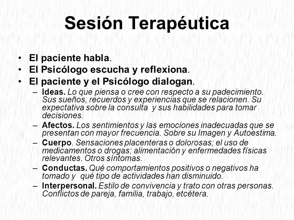 Sesión Terapéutica El paciente habla.El Psicólogo escucha y reflexiona.