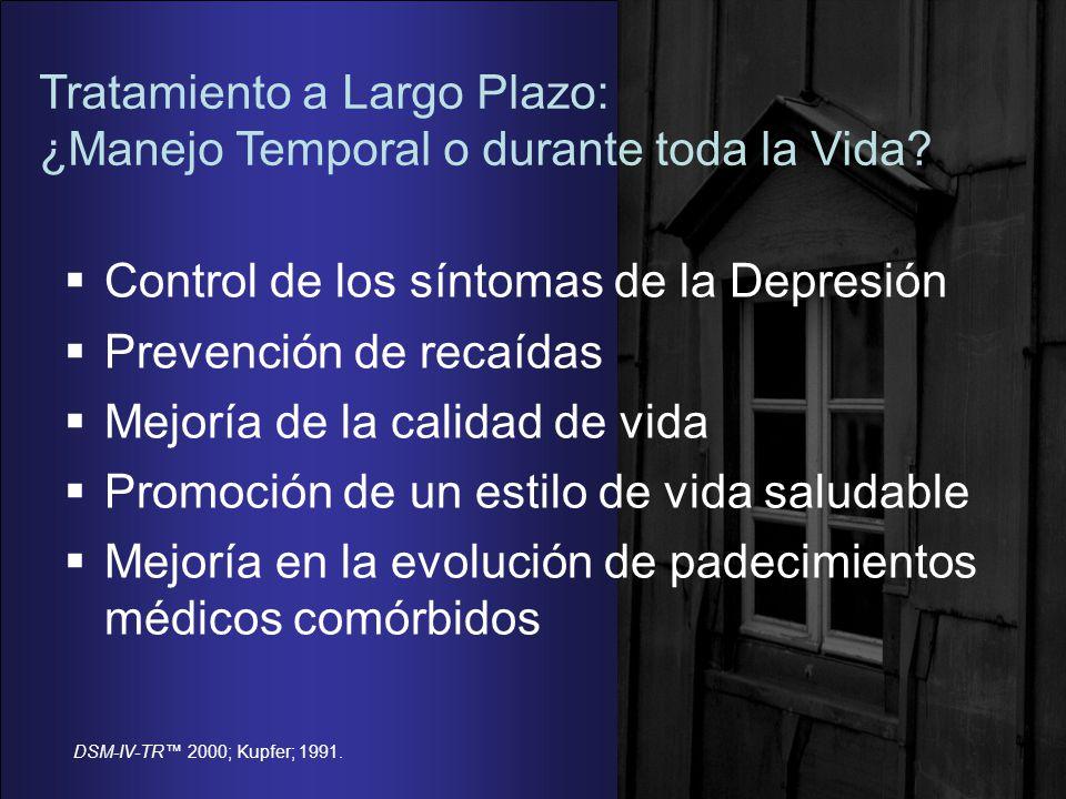 DSM-IV-TR 2000; Kupfer; 1991.Tratamiento a Largo Plazo: ¿Manejo Temporal o durante toda la Vida.