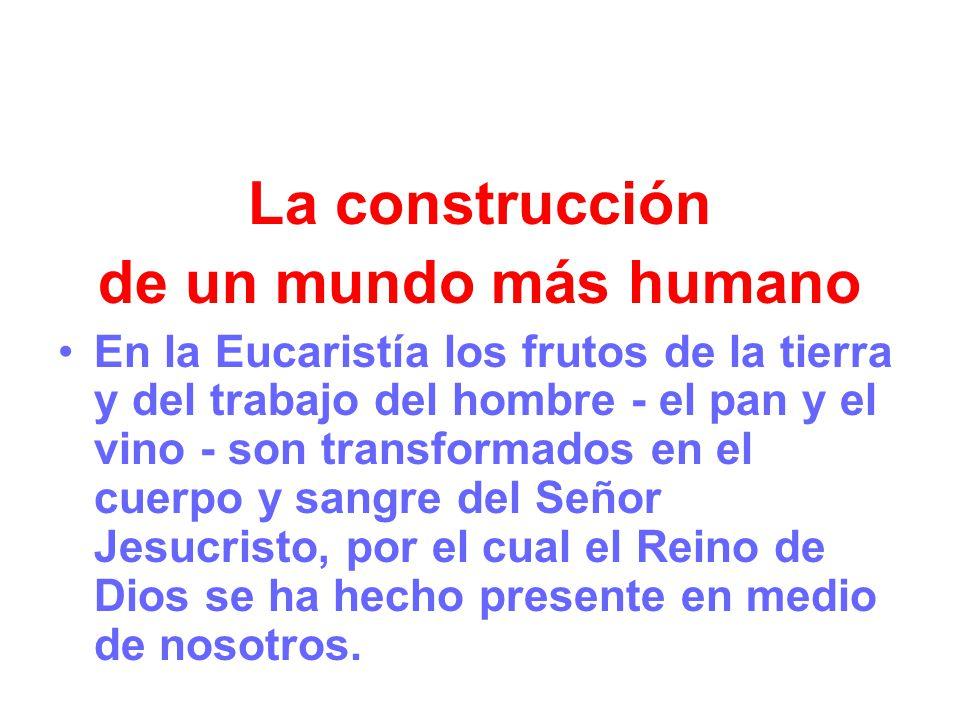 La construcción de un mundo más humano En la Eucaristía los frutos de la tierra y del trabajo del hombre - el pan y el vino - son transformados en el