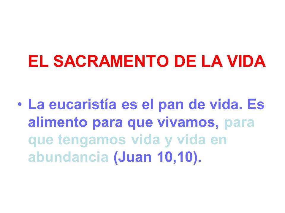 EL SACRAMENTO DE LA VIDA La eucaristía es el pan de vida. Es alimento para que vivamos, para que tengamos vida y vida en abundancia (Juan 10,10).