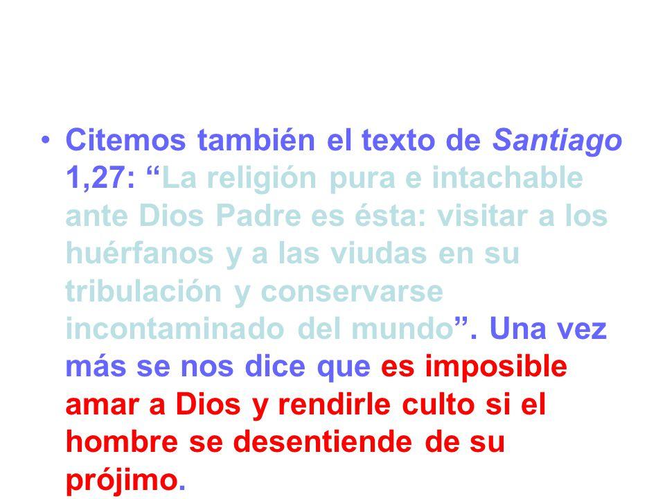 Citemos también el texto de Santiago 1,27: La religión pura e intachable ante Dios Padre es ésta: visitar a los huérfanos y a las viudas en su tribulación y conservarse incontaminado del mundo.