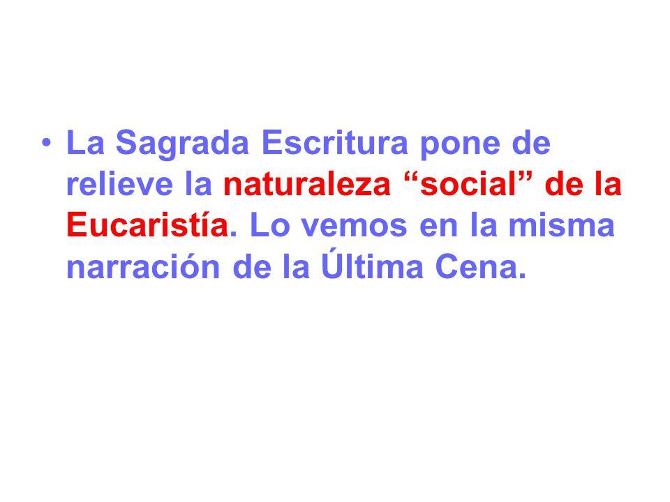 La Sagrada Escritura pone de relieve la naturaleza social de la Eucaristía. Lo vemos en la misma narración de la Última Cena.