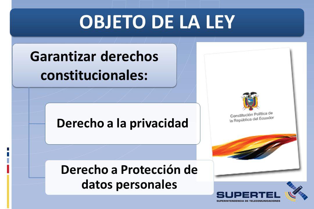 Garantizar derechos constitucionales: Derecho a la privacidad Derecho a Protección de datos personales OBJETO DE LA LEY