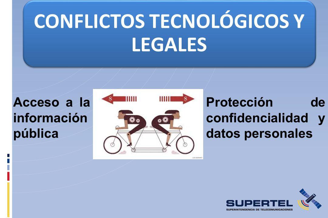 CONFLICTOS TECNOLÓGICOS Y LEGALES Acceso a la información pública Protección de confidencialidad y datos personales