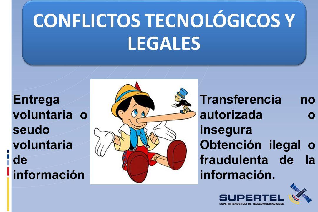 CONFLICTOS TECNOLÓGICOS Y LEGALES Entrega voluntaria o seudo voluntaria de información Transferencia no autorizada o insegura Obtención ilegal o fraudulenta de la información.