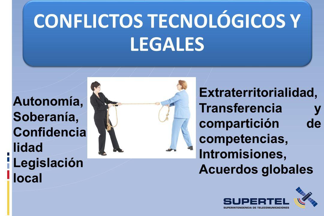 CONFLICTOS TECNOLÓGICOS Y LEGALES Autonomía, Soberanía, Confidencia lidad Legislación local Extraterritorialidad, Transferencia y compartición de competencias, Intromisiones, Acuerdos globales