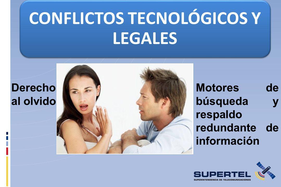 CONFLICTOS TECNOLÓGICOS Y LEGALES Derecho al olvido Motores de búsqueda y respaldo redundante de información
