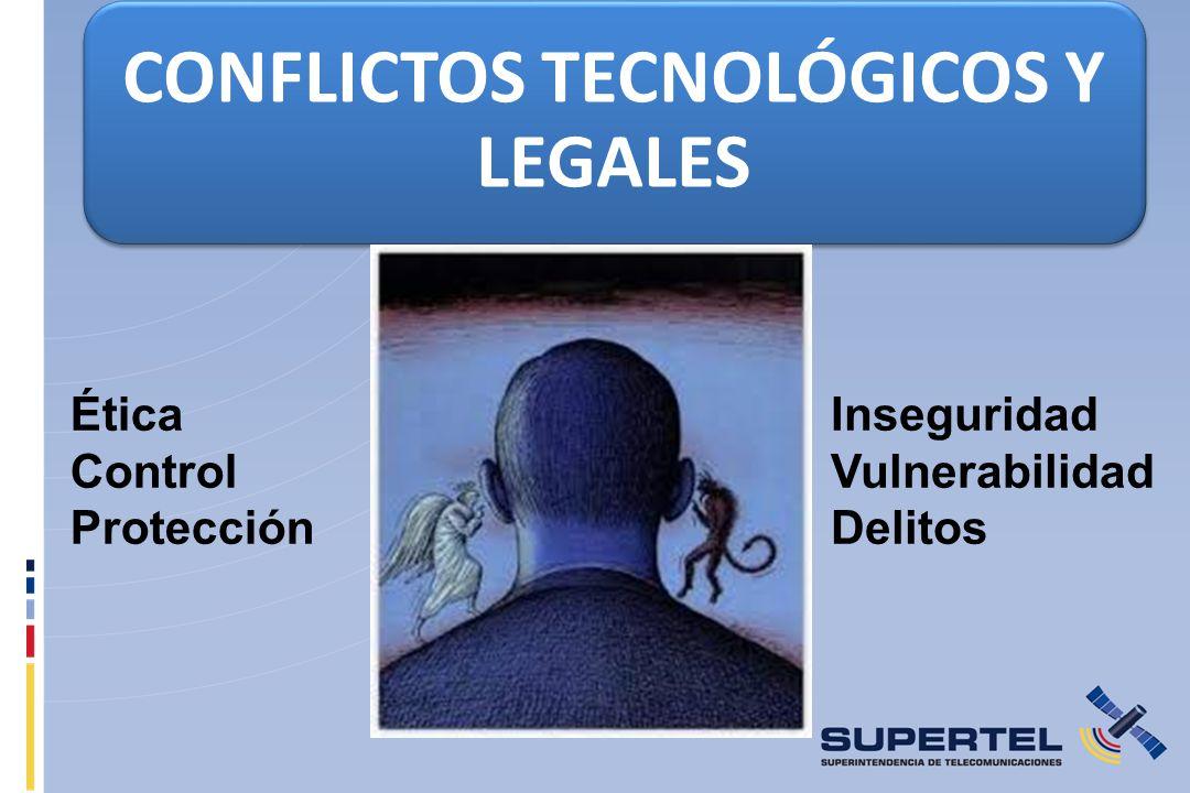 CONFLICTOS TECNOLÓGICOS Y LEGALES Inseguridad Vulnerabilidad Delitos Ética Control Protección