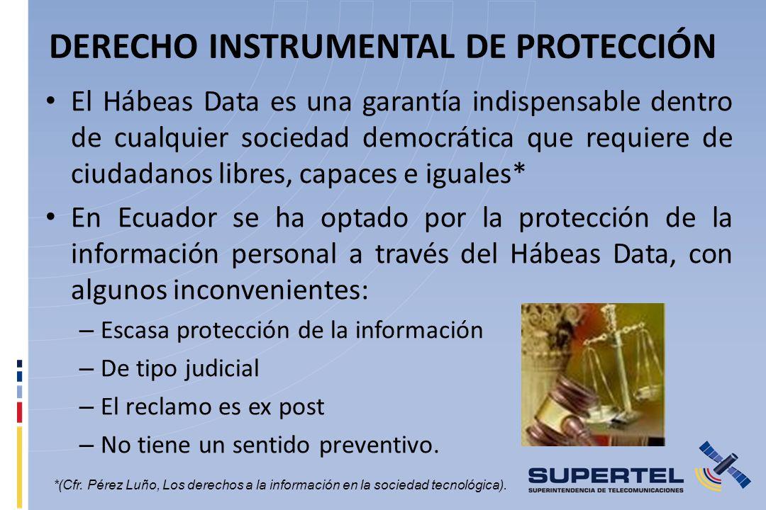 DERECHO INSTRUMENTAL DE PROTECCIÓN El Hábeas Data es una garantía indispensable dentro de cualquier sociedad democrática que requiere de ciudadanos li