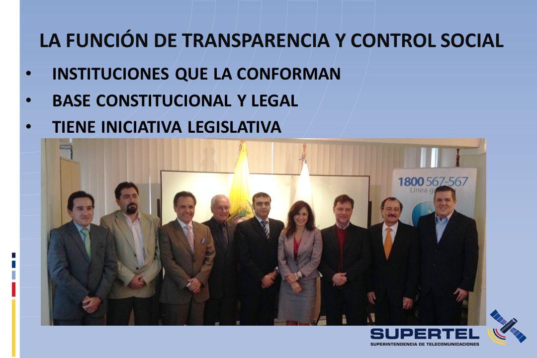 LA FUNCIÓN DE TRANSPARENCIA Y CONTROL SOCIAL INSTITUCIONES QUE LA CONFORMAN BASE CONSTITUCIONAL Y LEGAL TIENE INICIATIVA LEGISLATIVA