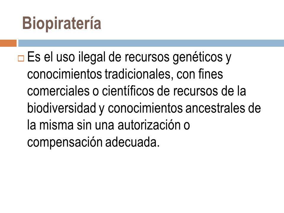 Biopiratería Es el uso ilegal de recursos genéticos y conocimientos tradicionales, con fines comerciales o científicos de recursos de la biodiversidad