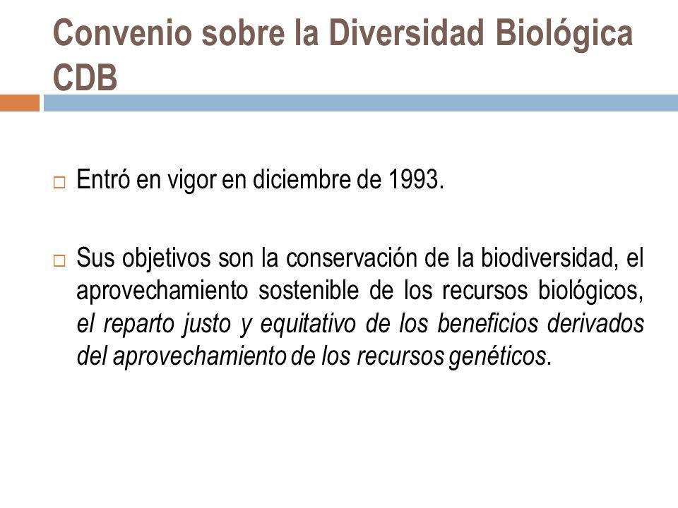 Convenio sobre la Diversidad Biológica CDB Entró en vigor en diciembre de 1993. Sus objetivos son la conservación de la biodiversidad, el aprovechamie